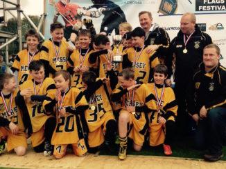 Heaton Mersey under-12s boys' lacrosse team