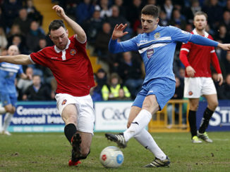 Scott Duxbury scores the winner for County as the beat FC United 2-1