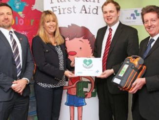 Shaun Ingram (Cardiac Science), Wendy Hartley (Brown Bear Childcare), William Wragg MP and Ian Kershaw, from First Aid Industry Body
